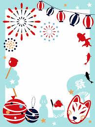 花火と夏祭りのフレーム | 無料イラスト素材|素材ラボ