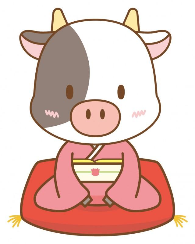 着物を着てあいさつ牛さん(丑、うし、正月、干支、年賀状、晴着、和装 ...