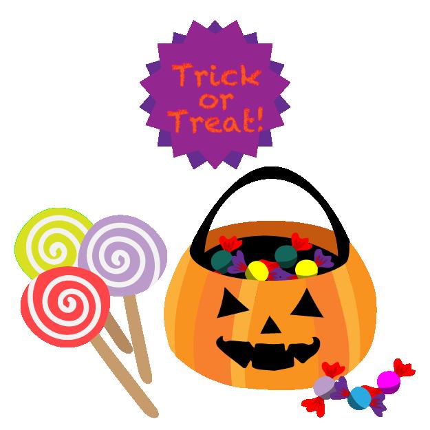かぼちゃに入ったお菓子とアメのハロウィンイラスト | 無料イラスト ...