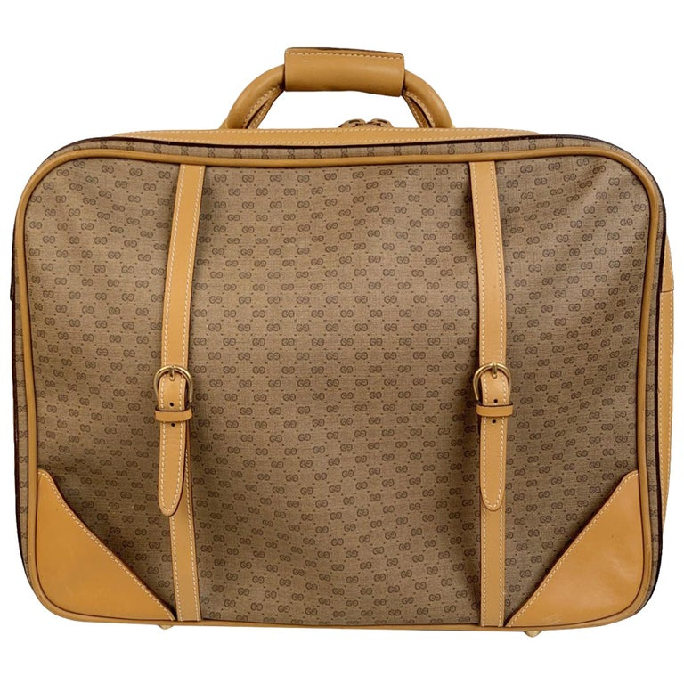 Gucci Vintage Beige Monogram Canvas Cabin Size Suitcase Travel Bag ...