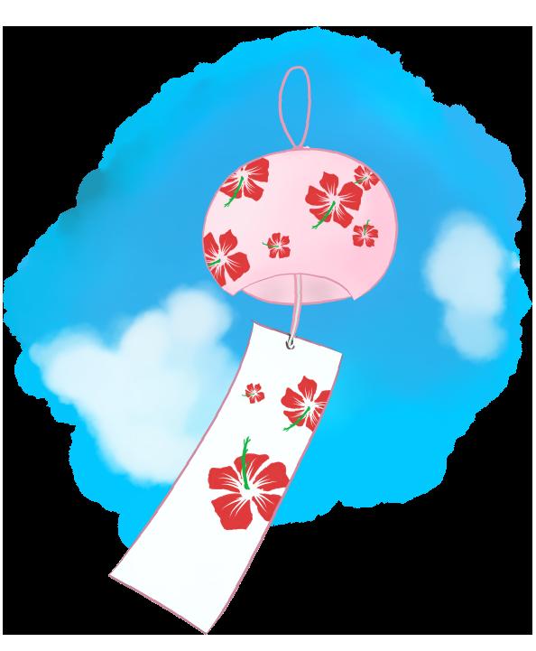可愛い風鈴のイラスト - 青空と涼やかな装飾無料素材 - チコデザ