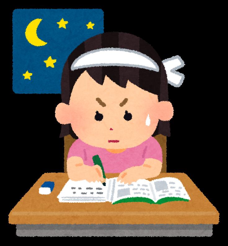 勉強のイラスト「テスト勉強・女の子」 | かわいいフリー素材集 いらすとや