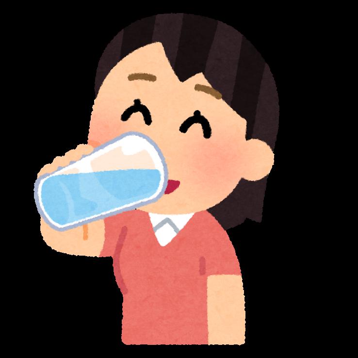 水分補給をする人のイラスト(女性) | かわいいフリー素材集 いらすとや