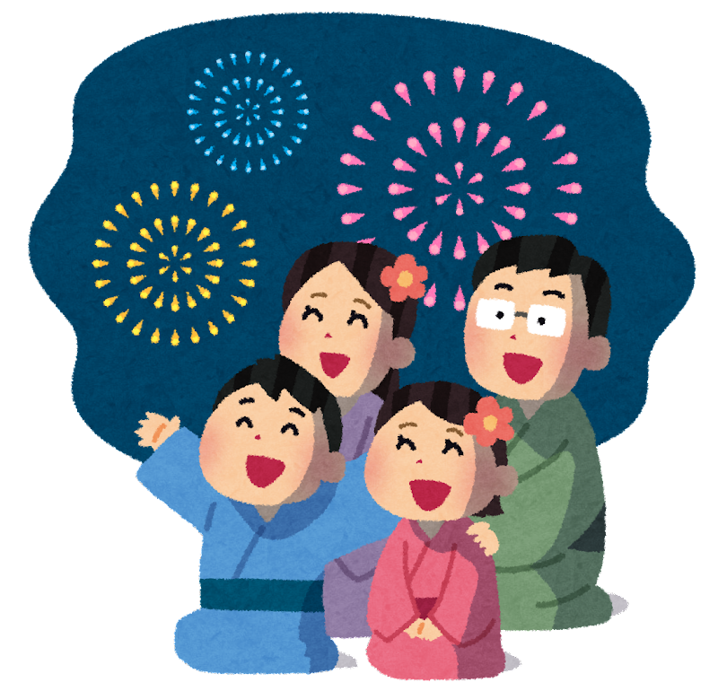 花火を見ている家族のイラスト(背景あり) | かわいいフリー素材集 ...