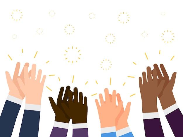 拍手イラスト。国際的な人々の手をたたくコンセプト | プレミアムベクター