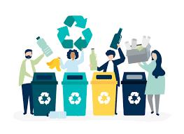 リサイクルのためのゴミの選別   無料のベクター