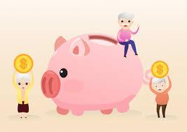 退職のコンセプト。老人と黄金の貯金箱を持つ女性。退職貯蓄ピンクの ...