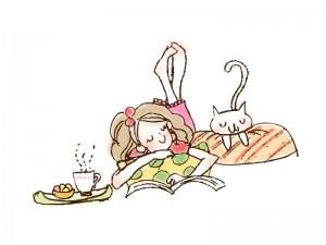 ネコと女の子・イラスト素材02 | イラスト無料・かわいいテンプレート