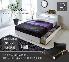 引き出し 収納ベッド 棚・コンセント・LED照明付き ホワイト ブラック ...