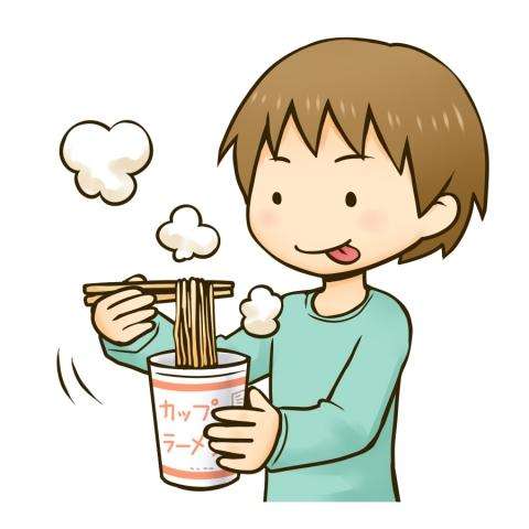 カップ麺を食べる男の子のイラスト - 無料イラストのIMT 商用OK、加工OK