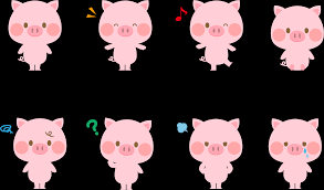 フリーイラスト] 様々な表情のピンク色のぶたのセットでアハ体験 ...