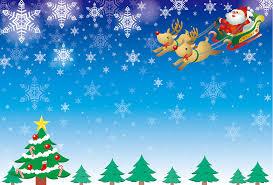 フリーイラスト] クリスマスツリーとソリに乗るサンタとトナカイの ...