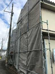 解体養生足場組み立て完了 | 広島・岡山の足場工事・解体・リフォーム ...