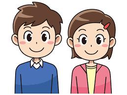笑顔の小学生の男子と女子(無料イラスト素材) - イラスト素材図鑑